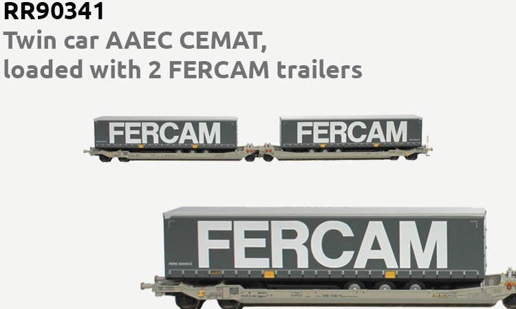 Twin car AAEC CEMAT, loaded with 2 FERCAM trailers