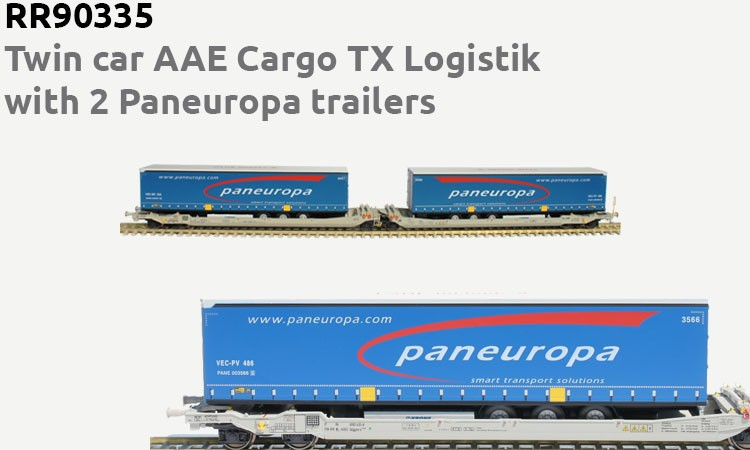 RR90335 : Twin car AAE Cargo TX Logistik with 2 Paneuropa trailers