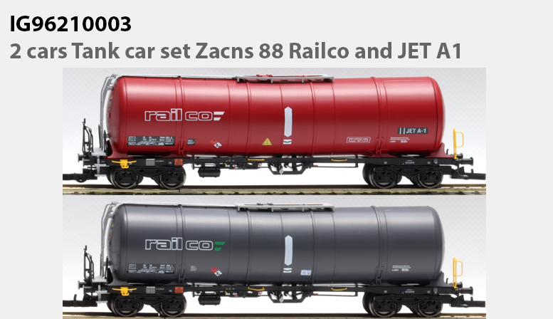 IG96210003: 2 cars Tank car set Zacns 88 Railco and JET A1